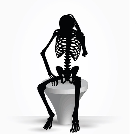 bleak: Vector Image - skeleton silhouette in thinking pose isolated on white background