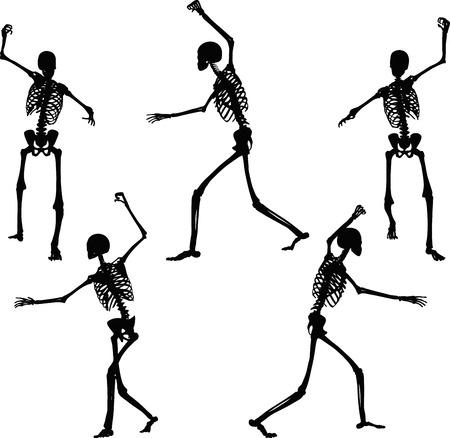 esqueleto: Imagen vectorial - silueta esqueleto en intimidante plantean aislados sobre fondo blanco Vectores