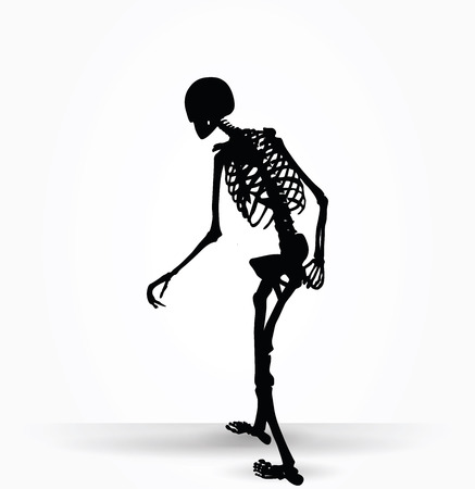 Vector Image - skeleton silhouette in old walk pose isolated on white background