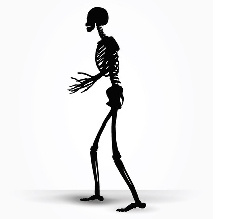 pleading: Vector Image - skeleton silhouette in pleading pose isolated on white background Illustration