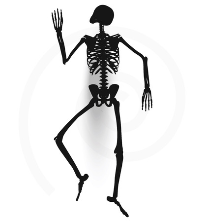 prone: Vector Image - skeleton silhouette in prone pose isolated on white background Illustration