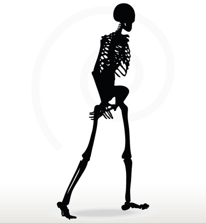 promenade: Vector Image - skeleton silhouette in walk pose isolated on white background