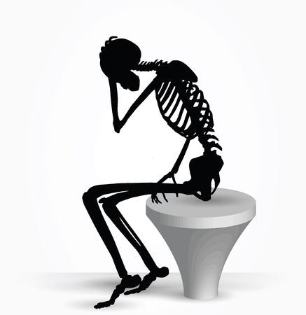 esqueleto: Imagen vectorial - silueta esqueleto en el pensamiento plantean aislados sobre fondo blanco