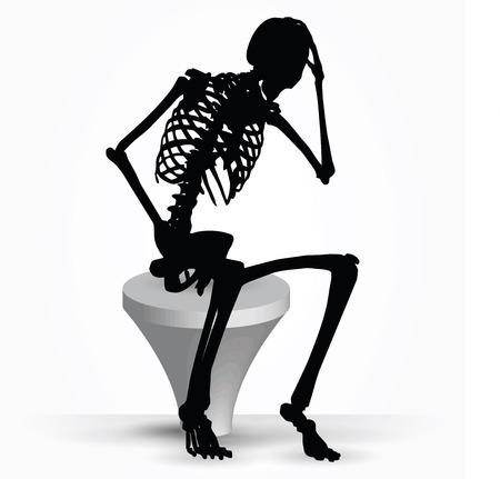 cogitation: Vector Image - skeleton silhouette in thinking pose isolated on white background