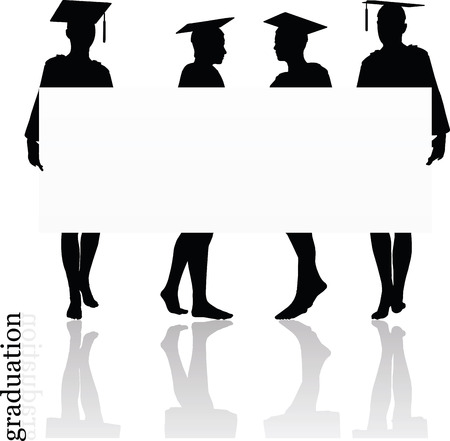 graduated: Vector Image - girl silhouette in a gown isolated on white background