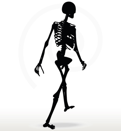 Vector Image - skeleton silhouette in walk pose isolated on white background
