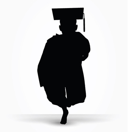 commencement: Vector Image - girl silhouette in a gown isolated on white background