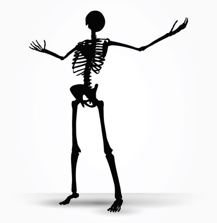 Vector Image - skeleton silhouette in power pose isolated on white background