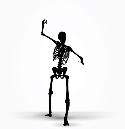 terrify: Vector Image - skeleton silhouette in intimidating pose isolated on white background