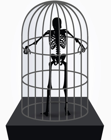 gaol: Vector Image - skeleton silhouette in standing in cage pose isolated on white background