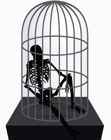 bull pen: Vector Image - skeleton silhouette in sitting in cage pose isolated on white background Illustration