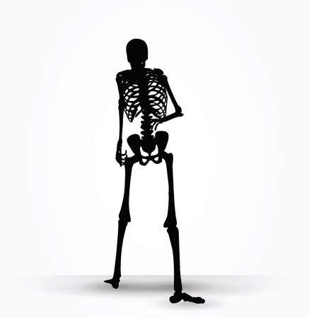 Vector Image - skeleton silhouette in shuffle pose isolated on white background Illustration
