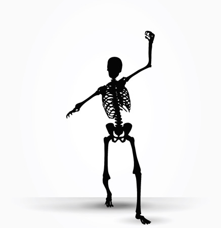 intimidating: Vector Image - skeleton silhouette in intimidating pose isolated on white background
