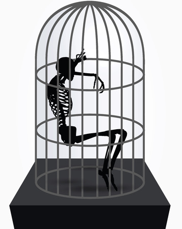 gaol: Vector Image - skeleton silhouette in sitting in cage pose isolated on white background Illustration