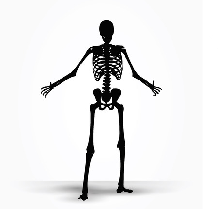 imploring: Vector Image - skeleton silhouette in pleading pose isolated on white background Illustration