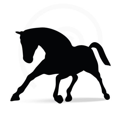 caballo negro: Imagen vectorial - silueta del caballo en funcionamiento plantean aislados sobre fondo blanco