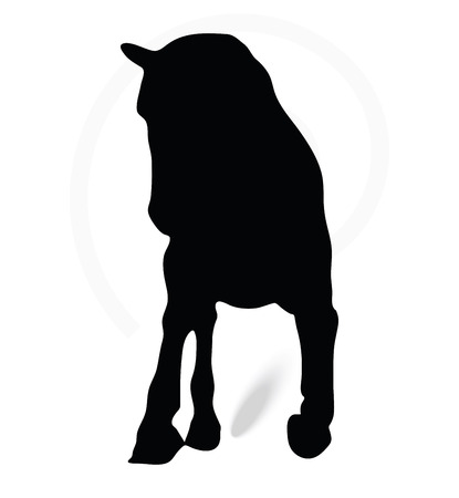 gee: Vector Image - horse silhouette in running pose isolated on white background Illustration