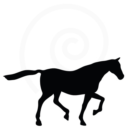 gee: Vector Image - horse silhouette in loping pose isolated on white background