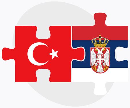 トルコ、セルビアのフラグのパズルに孤立した白い背景