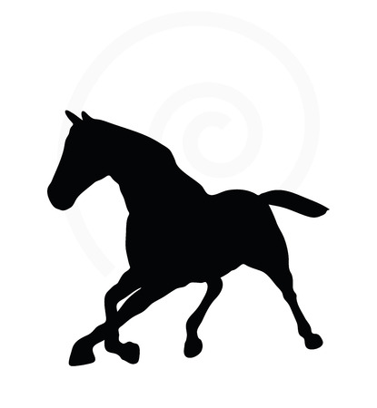 gee: Vector Image - horse silhouette in fast trot pose isolated on white background