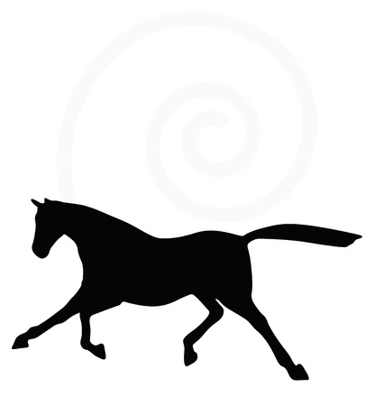 scuttle: Vector Image - horse silhouette in fast trot pose isolated on white background