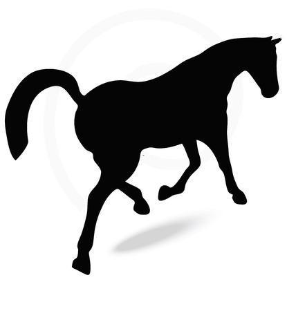 gee: Vector Image - horse silhouette in prancing walk pose isolated on white background