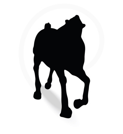 gee gee: Vector Image - horse silhouette in running pose isolated on white background Illustration