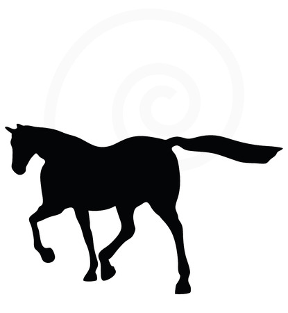 bounding: Vector Image - horse silhouette in loping pose isolated on white background