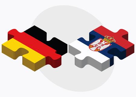 serbien: Deutschland und Serbien Flaggen in Puzzle isoliert auf wei�em Hintergrund Illustration