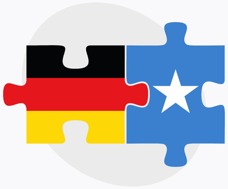 somalis: Germany and Somalia Flags in puzzle isolated on white background