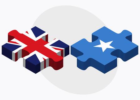 somalis: United Kingdom and Somalia Flags in puzzle isolated on white background
