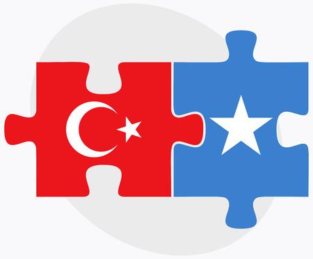 somalis: Turkey and Somalia Flags in puzzle isolated on white background Illustration