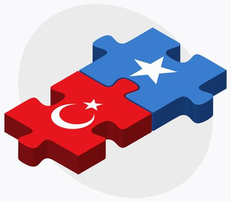 somali: Turkey and Somalia Flags in puzzle isolated on white background Illustration