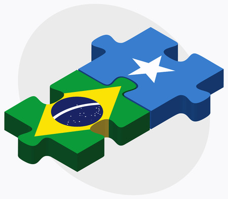 somalis: Brazil and Somalia Flags in puzzle isolated on white background Illustration