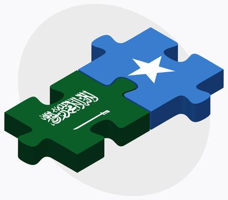 somalis: Saudi Arabia and Somalia Flags in puzzle isolated on white background Illustration