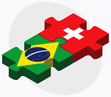 federative republic of brazil: Brazil and Switzerland Flags in puzzle isolated on white background