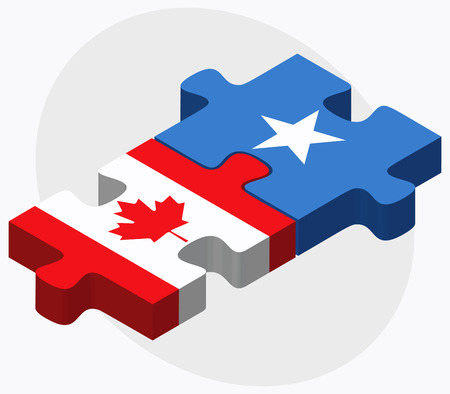 somalis: Canada and Somalia Flags in puzzle isolated on white background Illustration