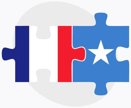 somalis: France and Somalia Flags in puzzle isolated on white background Illustration