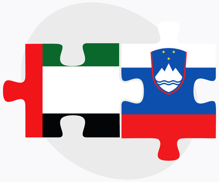 United Arab Emirates and Slovenia Flags in puzzle isolated on white background