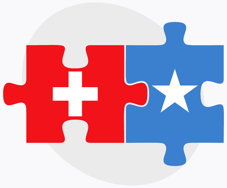 somalis: Switzerland and Somalia Flags in puzzle isolated on white background