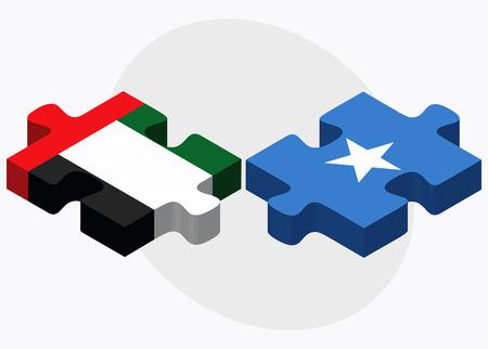 somalis: United Arab Emirates and Somalia Flags in puzzle isolated on white background Illustration
