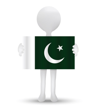 islamabad: small 3d man holding a flag of Islamic Republic of Pakistan