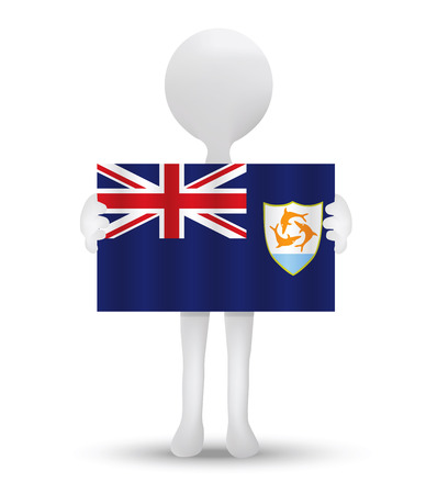 anguilla: small 3d man holding a flag of Anguilla
