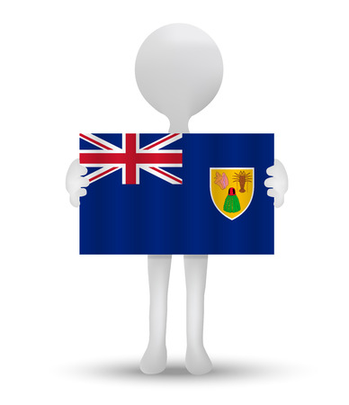 overseas: small 3d man holding a flag of Turks and Caicos Islands, British Overseas Territory Illustration