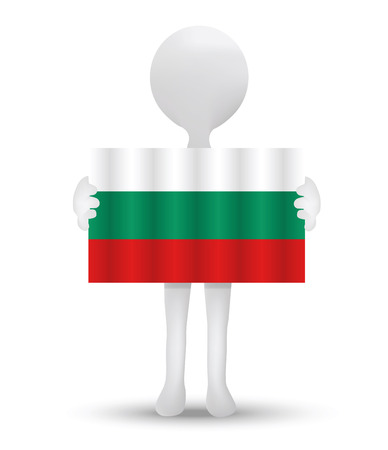 small business computer: small 3d man holding a flag of Republic of Bulgaria