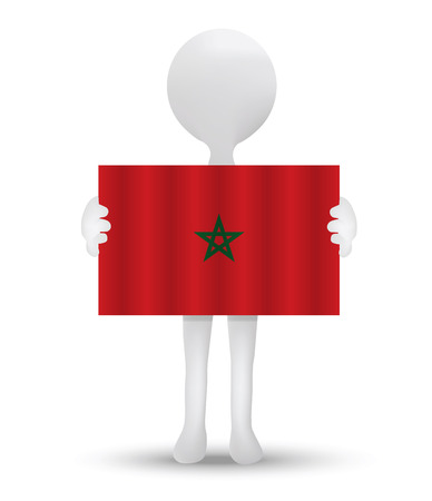 berber: small 3d man holding a flag of Kingdom of Morocco Illustration
