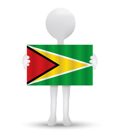 small 3d man holding a flag of Co-operative Republic of Guyana