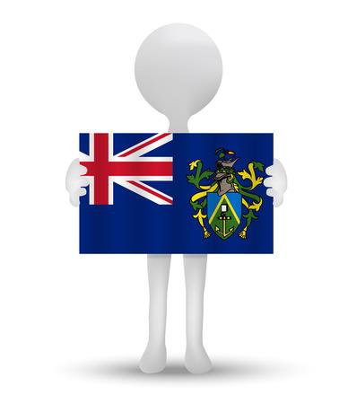 pitcairn: small 3d man holding a flag of Pitcairn Islands
