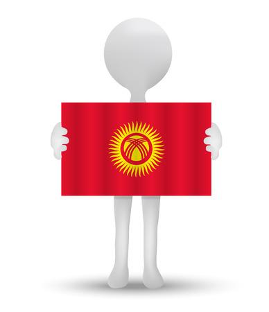 kyrgyz republic: small 3d man holding a flag of Kyrgyz Republic Illustration