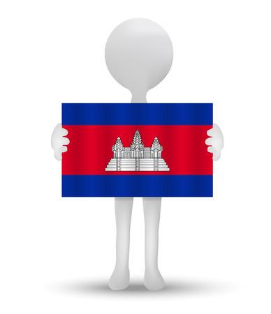 cambodian flag: small 3d man holding a flag of Kingdom of Cambodia Illustration